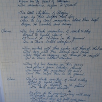 "Dad's lyric sheet for ""In a Town Called Aberfan"""